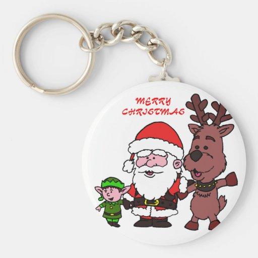 Santa Claus and Reindeer Llavero Redondo Tipo Pin