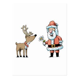 Santa Claus and Reindeer Postcard