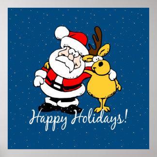 Santa Claus and Reindeer Poster