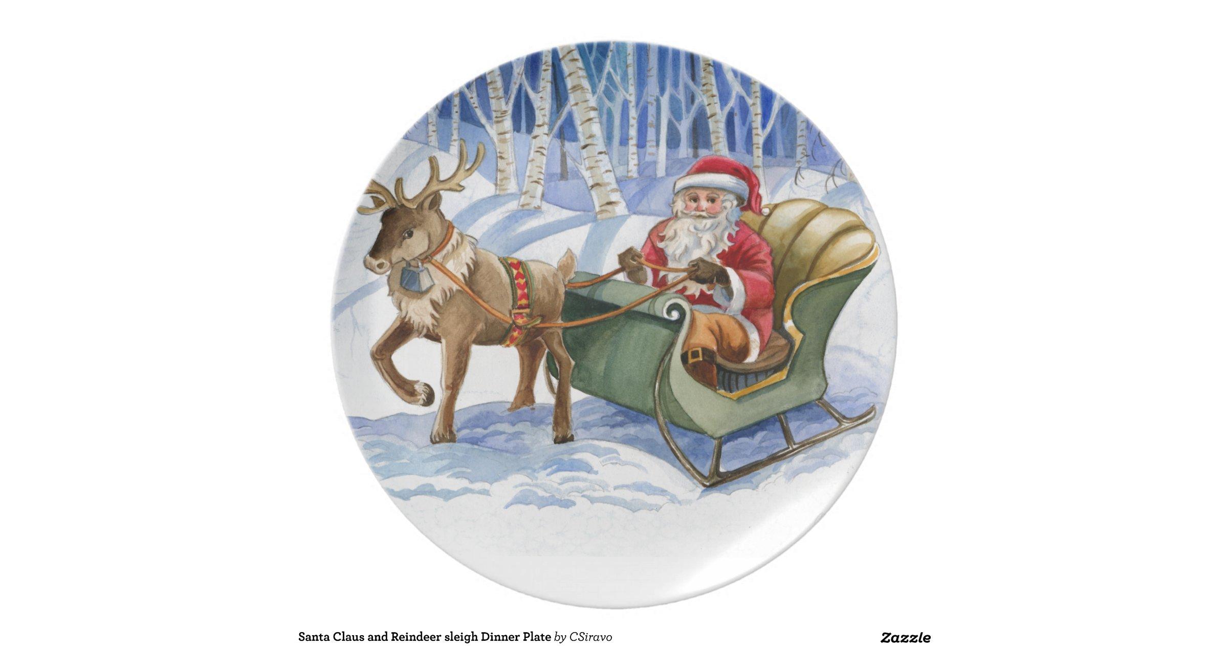 Santa claus and reindeer wallpaper