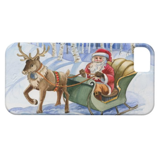 Santa Claus and Reindeer Watercolor cel phone case