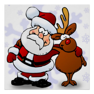 SANTA CLAUS AND RUDOLPH POSTER