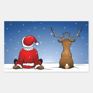 Santa Claus and Rudolph Rectangular Sticker