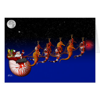Santa Claus and Seahorse Sleigh Greeting Card