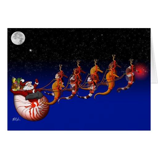 Santa Claus and Seahorse Sleigh Greeting Card