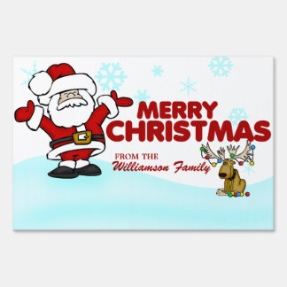 Santa Claus and Silly Moose Merry Christmas Lawn Sign