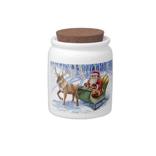 Santa Claus and Sleigh Candy Jar