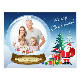 Santa Claus and Snow Globe Christmas Photo Card 2