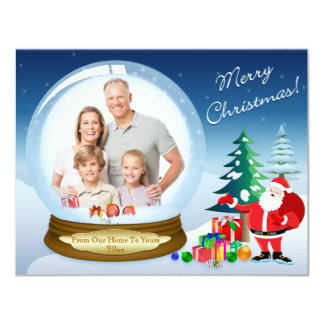 "Santa Claus and Snow Globe Christmas Photo Card 2 4.25"" X 5.5"" Invitation Card"