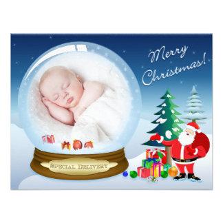 Santa Claus and Snow Globe Christmas Photo Card