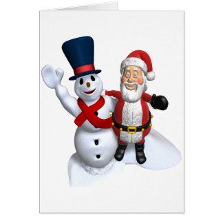 Santa Claus and Snowman Christmas Card