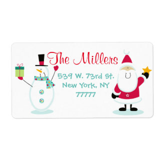 Santa Claus and Snowman Christmas Return Address Label
