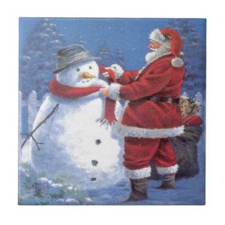 Santa Claus and Snowman Tile