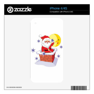 Santa Claus and the chimney iPhone 4 Decals