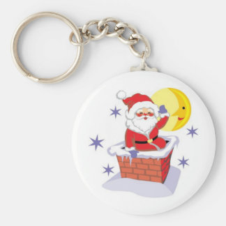 Santa Claus and the chimney Basic Round Button Keychain