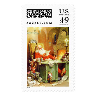 Santa Claus and the Elves at the North Pole Postage Stamp