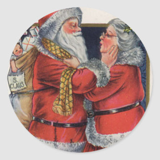 Santa Claus and the MRS. Classic Round Sticker
