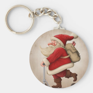 Santa Claus and the Push scooter Basic Round Button Keychain