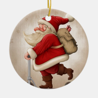 Santa Claus and the Push scooter Ceramic Ornament