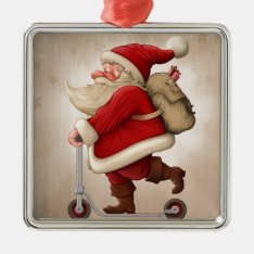 Santa Claus And The Push Scooter Metal Ornament at Zazzle
