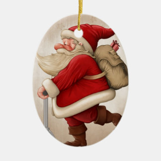 Santa Claus and the Push scooter Double-Sided Oval Ceramic Christmas Ornament