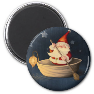 Santa Claus and walnut shell 2 Inch Round Magnet