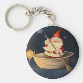 Santa Claus and walnut shell Basic Round Button Keychain