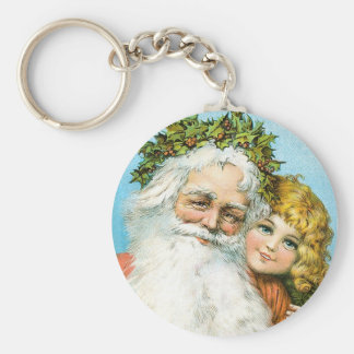 Santa Claus and young girl Basic Round Button Keychain