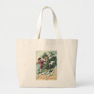 Santa Claus Angel Cherub Mistletoe Large Tote Bag