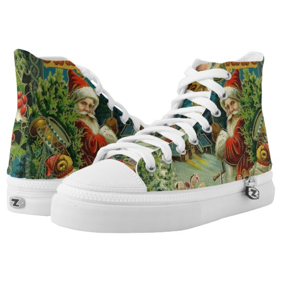 Santa Claus Antique vintage Victorian christmas High-Top Sneakers