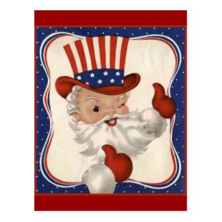 Santa Claus as Uncle Sam Postcard