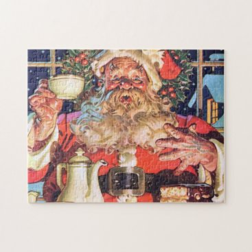 Coffee Themed Santa Claus at Home Jigsaw Puzzle