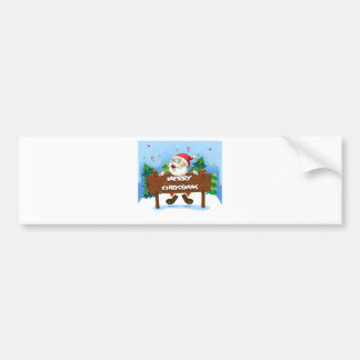 Santa Claus at the back of a wooden signboard Bumper Sticker