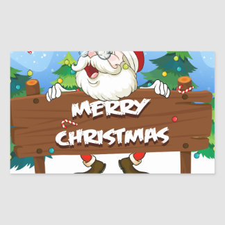 Santa Claus at the back of a wooden signboard Rectangular Sticker