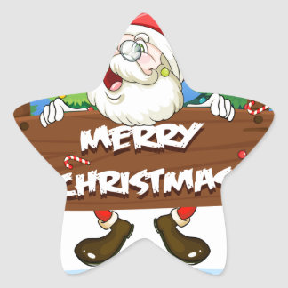 Santa Claus at the back of a wooden signboard Star Sticker