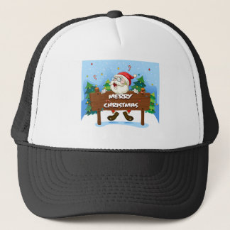Santa Claus at the back of a wooden signboard Trucker Hat