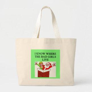 SANTA claus bad girl joke Jumbo Tote Bag