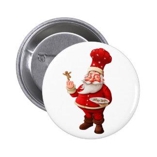 Santa Claus Bakes Gingerbread Men Pins