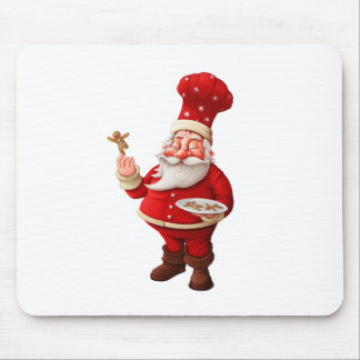 Santa Claus Bakes Gingerbread Men Mouse Pad