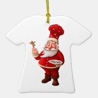 Santa Claus Bakes Gingerbread Men Double-Sided T-Shirt Ceramic Christmas Ornament