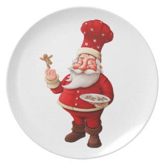 Santa Claus Bakes Gingerbread Men Plates