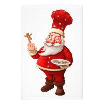Santa Claus Bakes Gingerbread Men Stationery