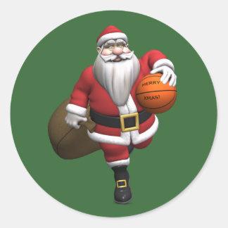 Santa Claus Basketball Player Classic Round Sticker