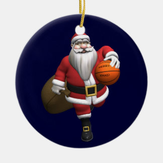Santa Claus Basketball Player Double-Sided Ceramic Round Christmas Ornament