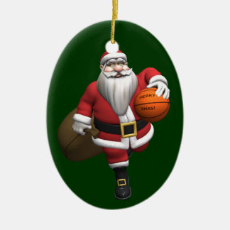 Santa Claus Basketball Player Double-Sided Oval Ceramic Christmas Ornament