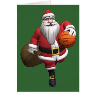 Santa Claus Basketball Player Greeting Card