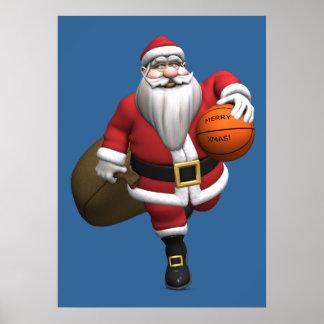 Santa Claus Basketball Player Poster