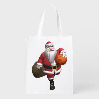 Santa Claus Basketball Player Reusable Grocery Bag