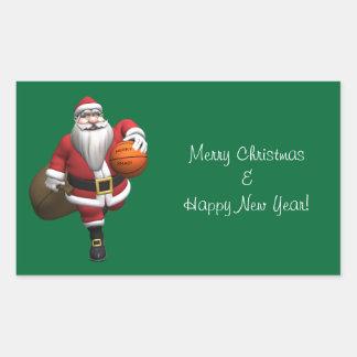 Santa Claus Basketball Player Rectangular Sticker