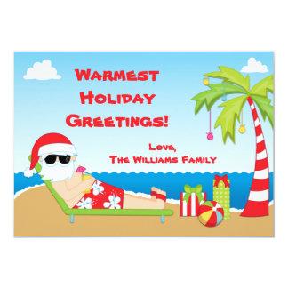 """Santa Claus Beach Christmas Card 5"""" X 7"""" Invitation Card"""